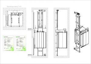 Technische Zeichnung des HomTechnische Zeichnung des Homeliftes Piconormeliftes Piconorm